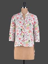 Floral Print Hi-low Rayon Top - Pannkh