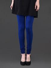 Royal Blue Cotton Lycra Leggings - Pannkh