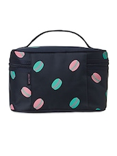 Printed Blue Nylon Cosmetic Bag - Scoopstreet