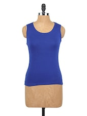 Round Neck Blue Cotton Tank Top - Happy Hippie