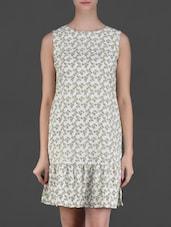 Sleeveless Printed Polycrepe Dress - Eyelet