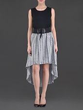 Round Neck Sleeveless Asymmetric Dress - Eyelet
