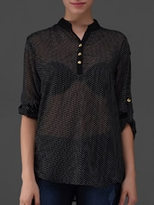 Mandarin Collar Printed Sheer Top - Eyelet