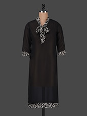 Solid Black Georgette Kurta With Front Knot - Ruhaan's