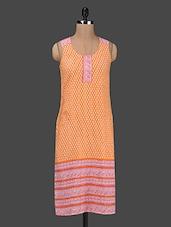 Orange Printed Sleeveless Cotton Kurta - Ruhaan's