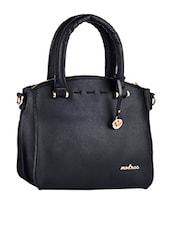 Plain Solid Black Zipper Closure Leatherette Handbag - Mod'acc