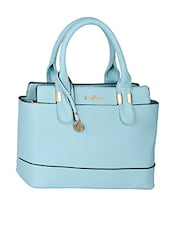Dual Compartment Solid Blue Leatherette Handbag - Mod'acc