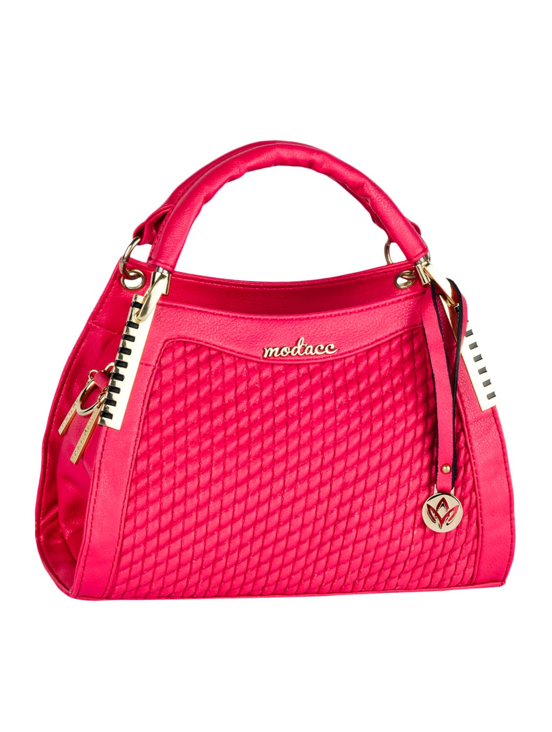 Textured Front Pink Leatherette Handbag - Mod'acc