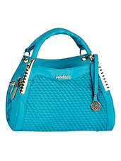 Textured Front Blue Leatherette Handbag - Mod'acc