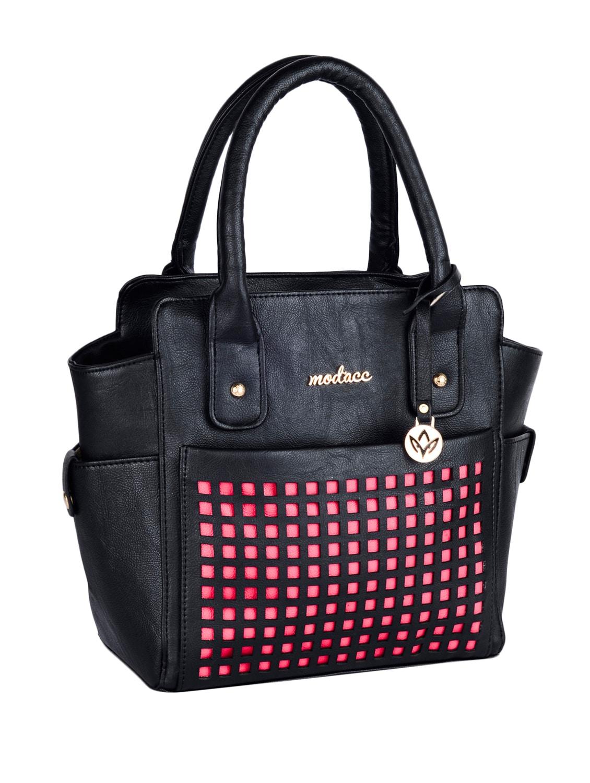 Cut Work Black Leatherette Handbag - Mod'acc
