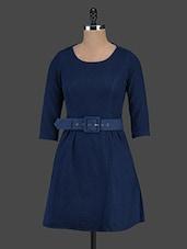 Solid Blue Denim A-line Dress - Trendybella