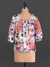 Multicoloured Floral Print Poly Georgette Top - French Creations