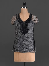 Grey And Black Printed Polyester Top - French Creations