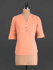 Solid Orange Cotton Dobby Top - French Creations