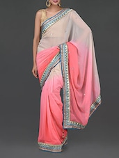 Pink And White Chiffon Saree - Sellective