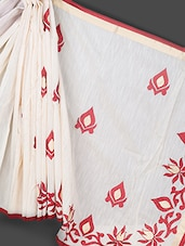 Beige Art Silk Cotton Saree - Prabha Creations