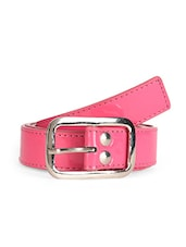 Solid Pink Leatherette Belt With Metal Buckle - Scarleti