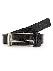 Croc Skin Textured Glossy Black Leatherette Belt - Scarleti