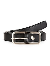 Solid Black Leatherette Belt With Metal Buckle - Scarleti