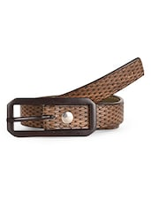 Woven Textured Brown Leatherette Belt - Scarleti
