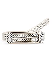 Printed Black & White Metal Buckle Leatherette Belt - Scarleti