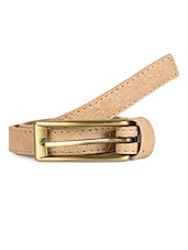 Textured Beige Leatherette Belt - Scarleti