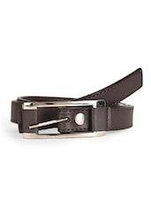 Metal Buckle Brown Leatherette Belt - Scarleti