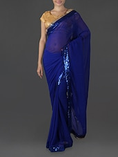 Roya Blue Georgette Saree With Sequined Border - Try N Get