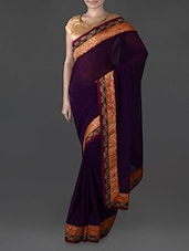 Purple Georgette Saree With Embroidered Border - Try N Get