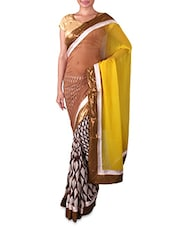 Brown And White Printed Georgette Saree - By