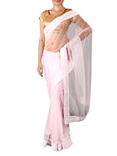 Baby Pink Embellished Net Saree - By