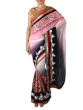 Multicoloured Embroidered Georgette Saree - By