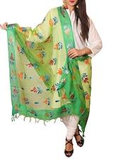 Green Tissue Printed  Dupatta - By