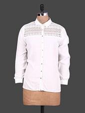 Lace Yoke Long Sleeves White Shirt - URBAN RELIGION