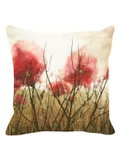 Misty & Arty Red Floral Cushion Cover - Leaf Designs