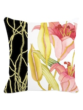 Black Band Multicolored Floral Cushion Cover - Leaf Designs