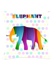 Multicolored Elephant & Polka Dots Cushion Cover - Leaf Designs