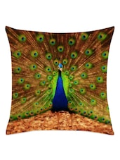 Multicolored Dancing Peacock Cushion Cover - Leaf Designs