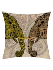 Paisley & Elephant Heads Printed Cushion Cover - Leaf Designs