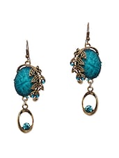 Blue Stone Metal Leaf Cut Work Earrings - CRAZORA