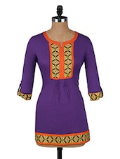 Purple Button-up Sleeves Cotton Kurti - Aaboli