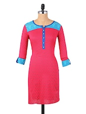 Pink Button-up Sleeves Cotton Kurti - Aaboli