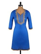 Embroidered Yoke Blue Quarter Sleeve Kurta - Aaboli