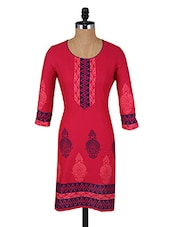 Pink Printed Round Neck Cotton Kurti - Aaboli