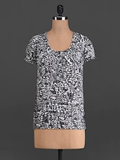 Monochrome Printed Short-sleeved Top - French Creations