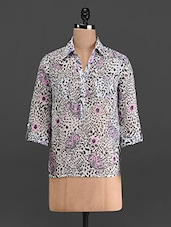 Multicoloured Printed Poly Georgette Shirt - French Creations