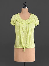 Lime Green Printed Cotton Top - French Creations