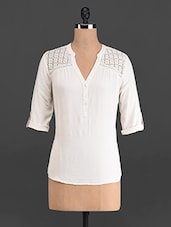 Solid Cream Top With Cotton Lace Yoke - French Creations