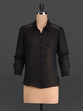 Solid Black Poly Georgette Top - French Creations
