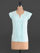 Mint Cotton Dobby Top With Lace Yoke - French Creations